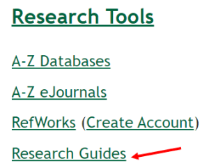 screenshot of the research guides link on the homepage