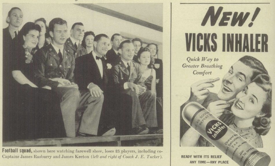 Photograph of students sitting in football bleachers from 1941 beside an advertisement for Vicks inhalers, featuring an illustratrion of a 1950's man and woman holding what looks like lipstick containers to their noses.