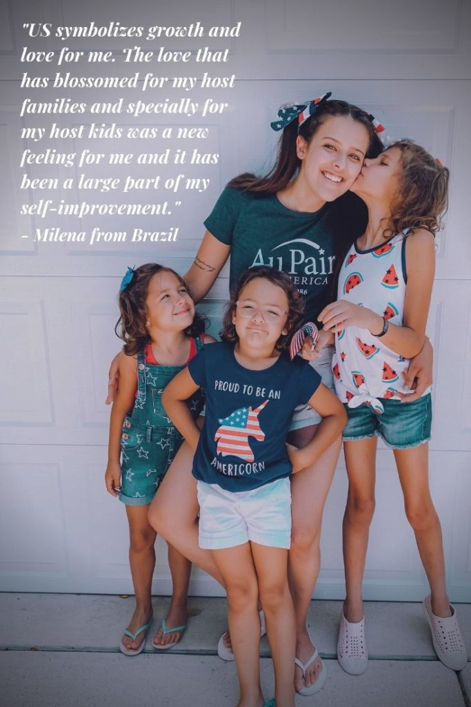 Au pair celebrating Fourth of July with her host children | Au Pair in America