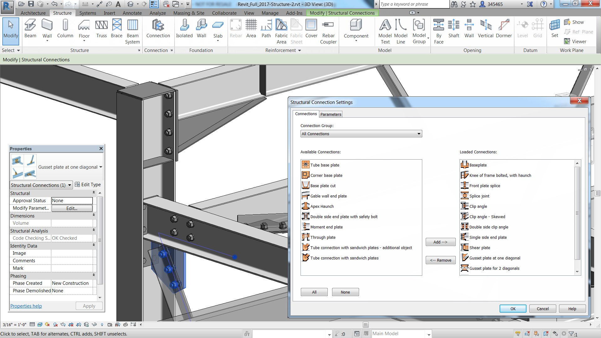 Steel Connections for Revit 2017 makes structural design to structural fabrication easier