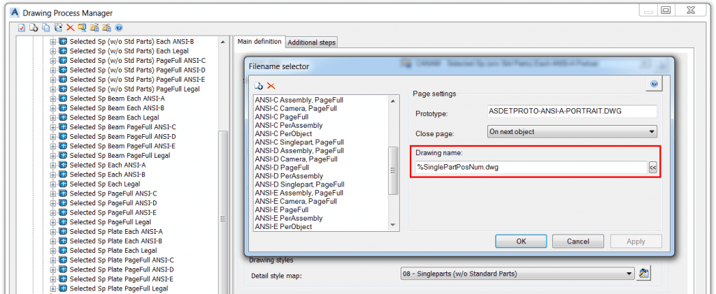Advance Steel tip on customizing shop drawing file name