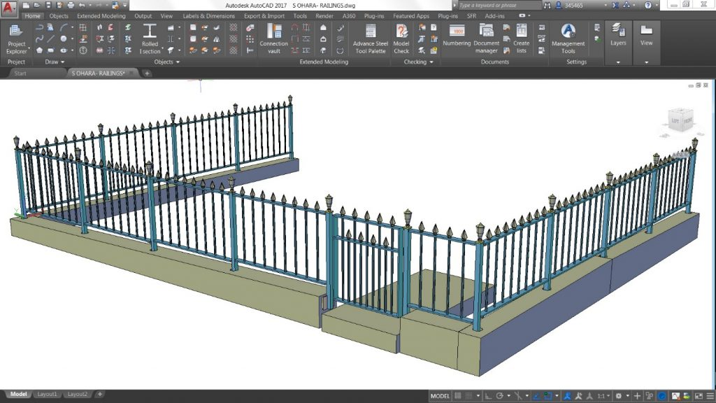 Advance Steel railings model
