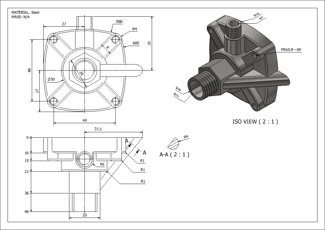 An Autodesk Inventor drawing of a complex part model