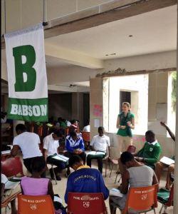 Lorien leaders her group in discussion in Sekondi, Ghana.