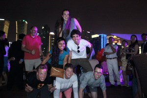 Babson BRIC students doing a pyrimid at the Huangpu River Cruise.