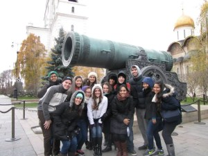 A few BRIC students huddle around the world's largest cannon in Moscow!