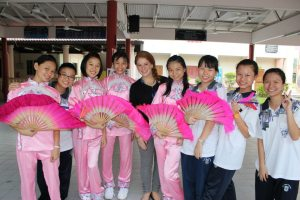 Andrea with Malaysian students