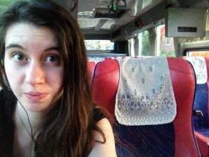 Molly on a bus
