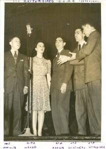 "Members (from left) of ""The Rhythmaires:"" Arthur Harrow ('48), Ruth Harris ('42), Bob Harris ('67), Joe Silberberg ('47), and Joe Boardman ('45)."