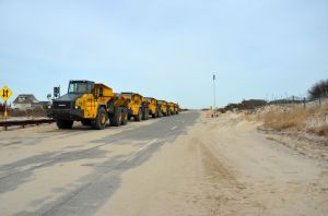 Sand is brought from the Fire Island Inlet to the Long Island Shorefront. Photo by Patrick Campbell