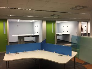 View of 2 study rooms from lab floor