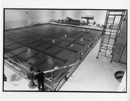 The Bentley swimming pool, still under construction.
