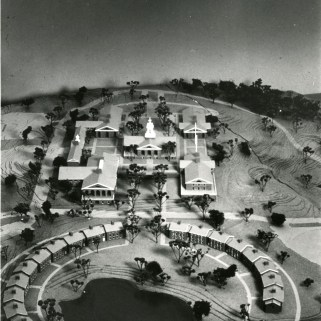 A physical model of the proposed campus was built to use at meetings.