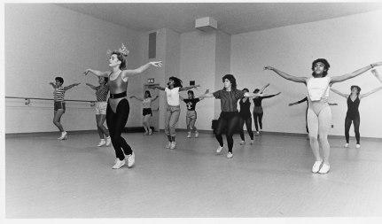 Dance or aerobics class, ca. 1980's.