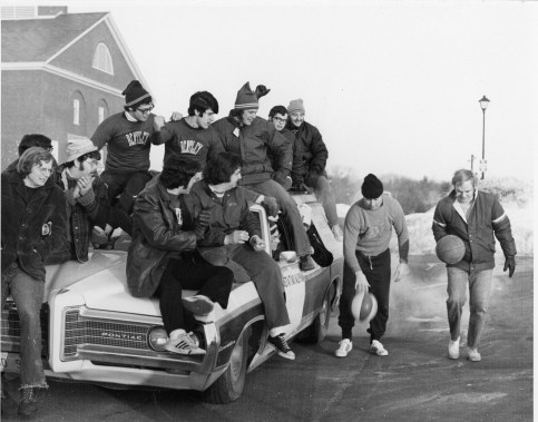Greek organizations have developed a reputation for creative fundraising! In this 1972 event, members of Beta Tau Alpha dribbled a basketball from Waltham to Worcester to raise money for charity.