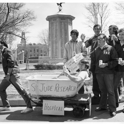 """At another 1970s fundraiser, members of Tau Kappa Epsilon held a """"Tub Pull"""" through Waltham to raise money for St. Jude's."""