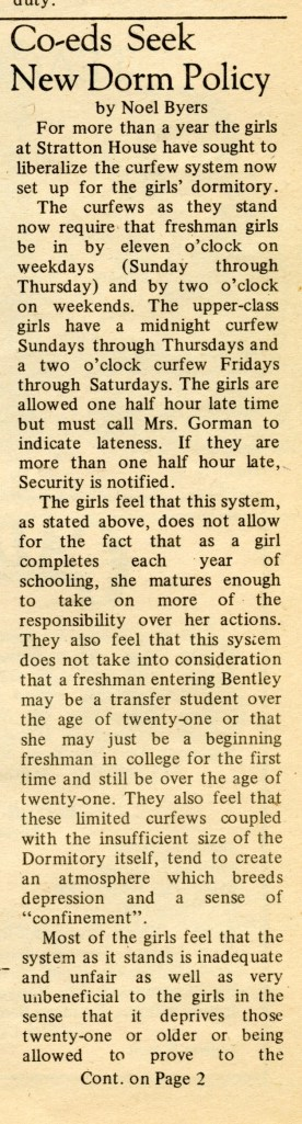 From the April 21, 1971 edition of the Bentley student newspaper.