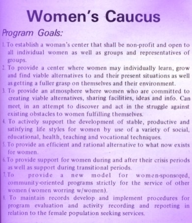Announcement of Women's Caucus in student newspaper