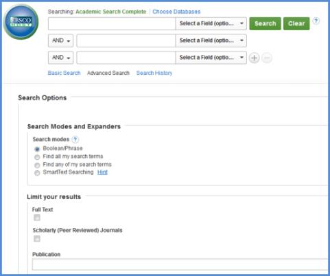 ASC search screen