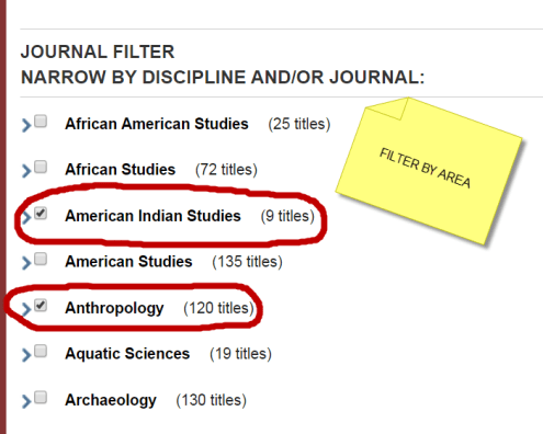 image: JSTOR journal filter
