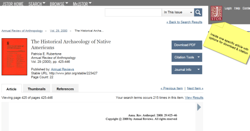 image: JSTOR article landing page