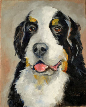 Painting of Kodiak, a Bernese Mountain Dog.