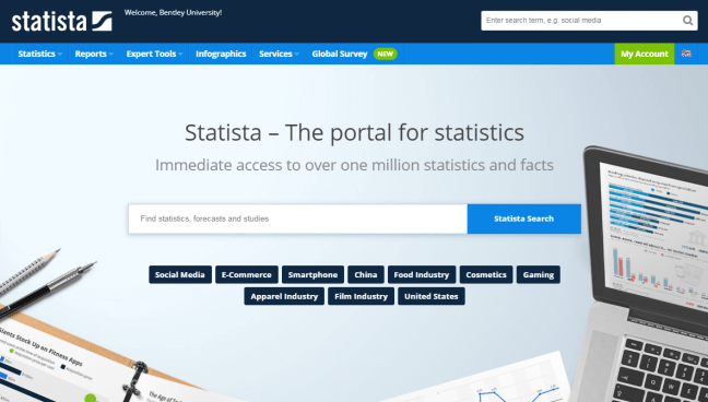 Screenshot of Statista homepage. Displays navigation menus and main search box.