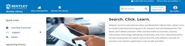Screenshot of the Books24x7/Skillport homepage.