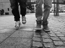 Black and White People Walking