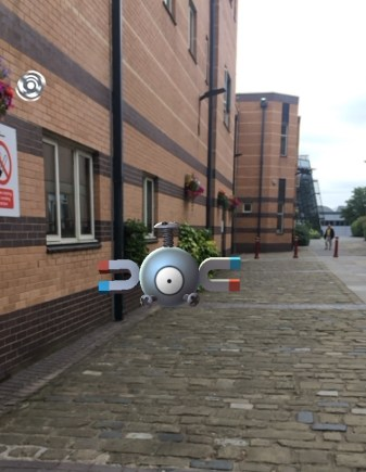Magnemite outside one of the Engineering Labs on campus