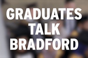 A blurred background with 'Graduates talk Bradford' capitalised centrally