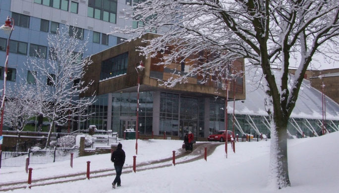 University of Bradford campus in the snow
