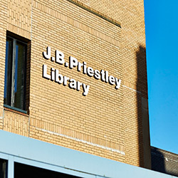 Partial exterior of the J.B. Priestley library on campus.