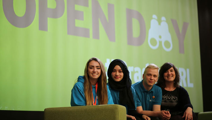 Emma Bridge and students at the Open Day Welcome Talk