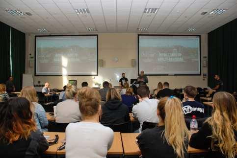 students listening to talk