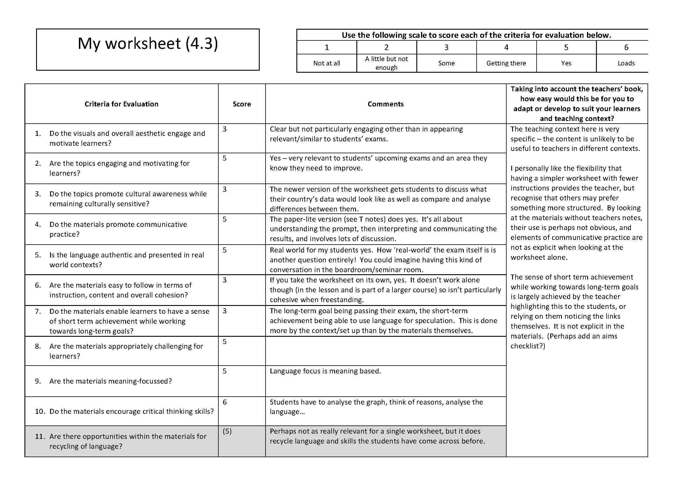 Designing A Worksheet