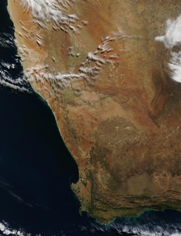 A satellite image of South Africa, Namibia, and Botswana from June 2002. Source: NASA.