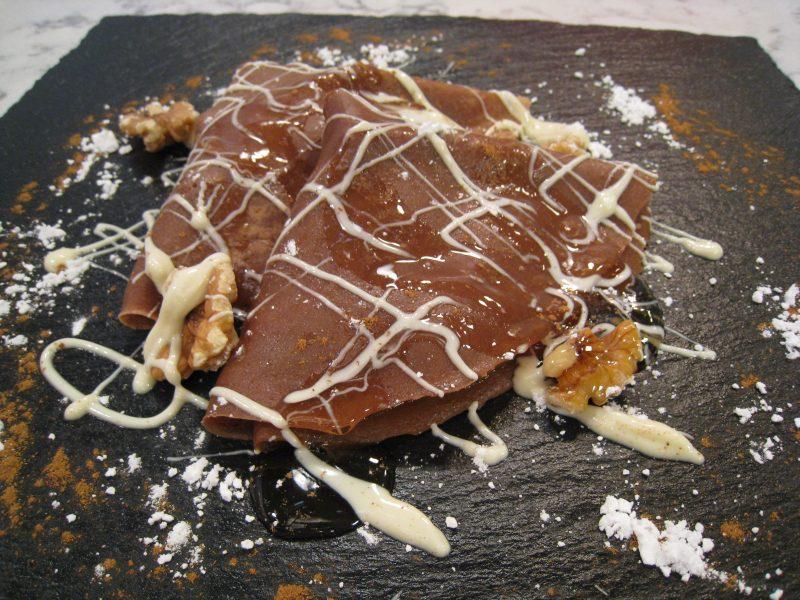 Crepes de Chocolate, Plátano y nueces