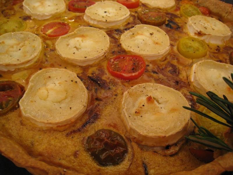 Tarta de tomates cherry y queso de cabra