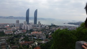 View of Xiamen from the mountain side taken during a mountain hike