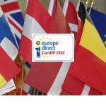 Flags of various European countries with the Cardiff EDC logo in the centre.