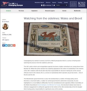 Watching from the sidelines: Wales and Brexit / Jo Hunt