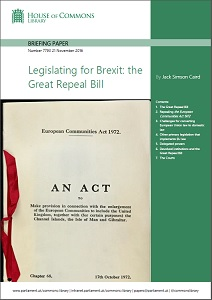 Legislating for Brexit: the Great Repeal Bill / House of Commons: Library