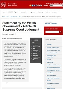 Statement by the Welsh Government - Article 50 Supreme Court Judgment
