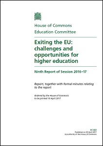 Exiting the EU : challenges and opportunities for higher education / House of Commons: Education Committee