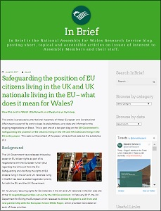Safeguarding the position of EU citizens living in the UK and UK nationals living in the EU – what does it mean for Wales? / National Assembly for Wales