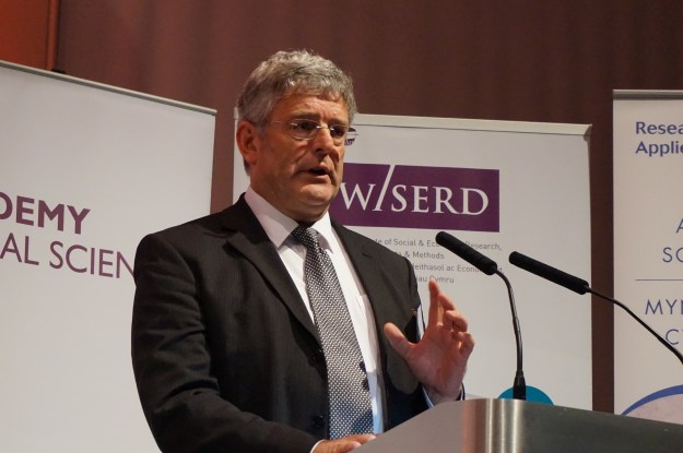 Professor David Blackaby, Co-Director at WISERD, based at Swansea University, spoke about his team's research into improving the evidence base for policy in the areas of unemployment and public sector pay
