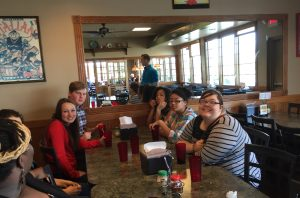 Students volunteering and participating at FBC London, OH enjoy some down time together