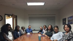 Members of the Student National Pharmaceutical Association meet with members of the One Campus Leadership Organization as both organizations connect with community members. From left to right. Maame Debrah-Pinamang, Dr. Simpson, Sister Pauletta Brown, Dr. Rocco Rotello, Dr. Justin Cole, Sarai Perez, Charles Learned, Michaela Dyson & Dr. Phoebe Tsai