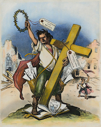"American cartoon by Grant Hamilton, 1896, on William Jennings Bryan's ""Cross of Gold"" speech at the Democratic National Convention in Chicago, which won Bryan the presidential nomination."